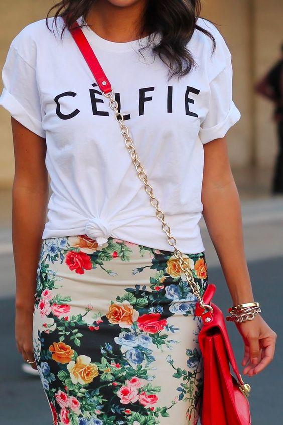 jupe crayon fleurs