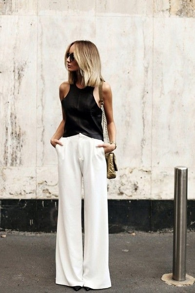 pantalon palazzo blanc