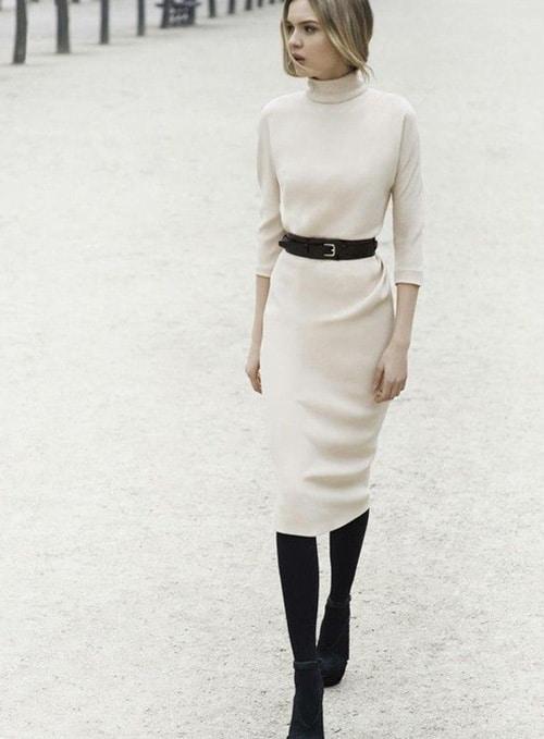 robe blanche hiver avec perfecto noir