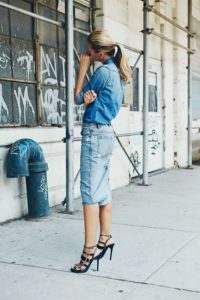 jupe crayon jean