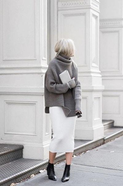 jupe crayon longue blanche