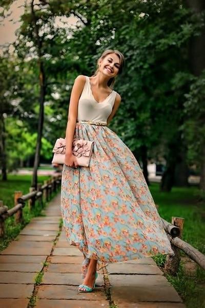 jupe longue fleurs