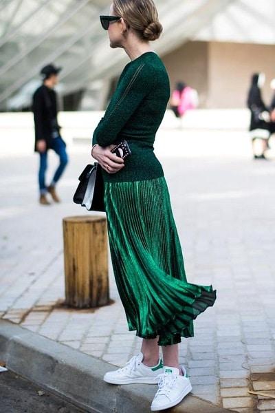 maxi-jupe-plissée