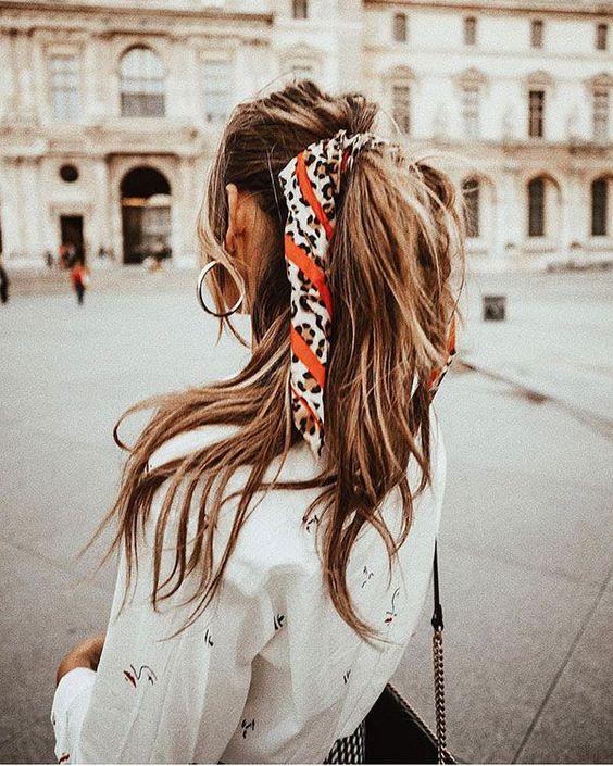 bandana queue de cheval idee coiffure