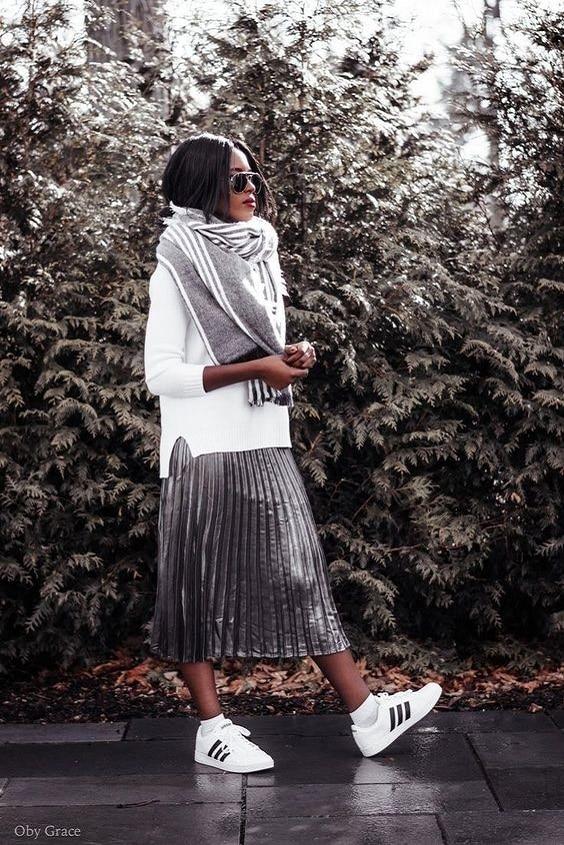 jupe-plissée-lamé