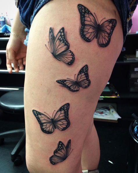 tatouage cuisse papillon