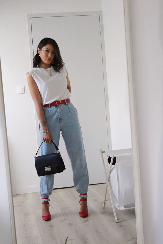 jeans mom et escarpins