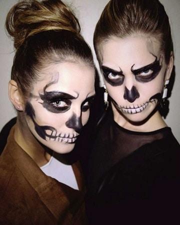 MAquillage en squelette halloween femme