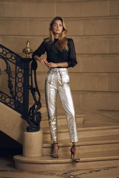 Pantalon lamé argenté