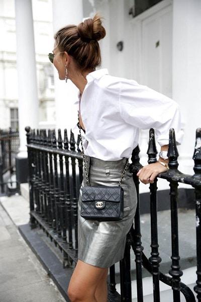 jupe lamée silver