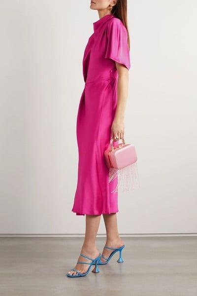 robe rose fuchsia midi