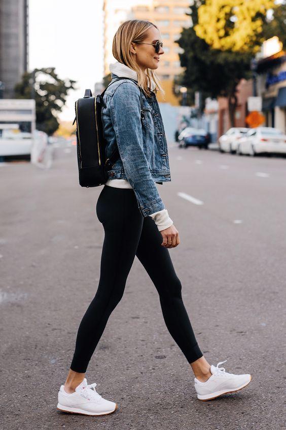 legging et veste en jean