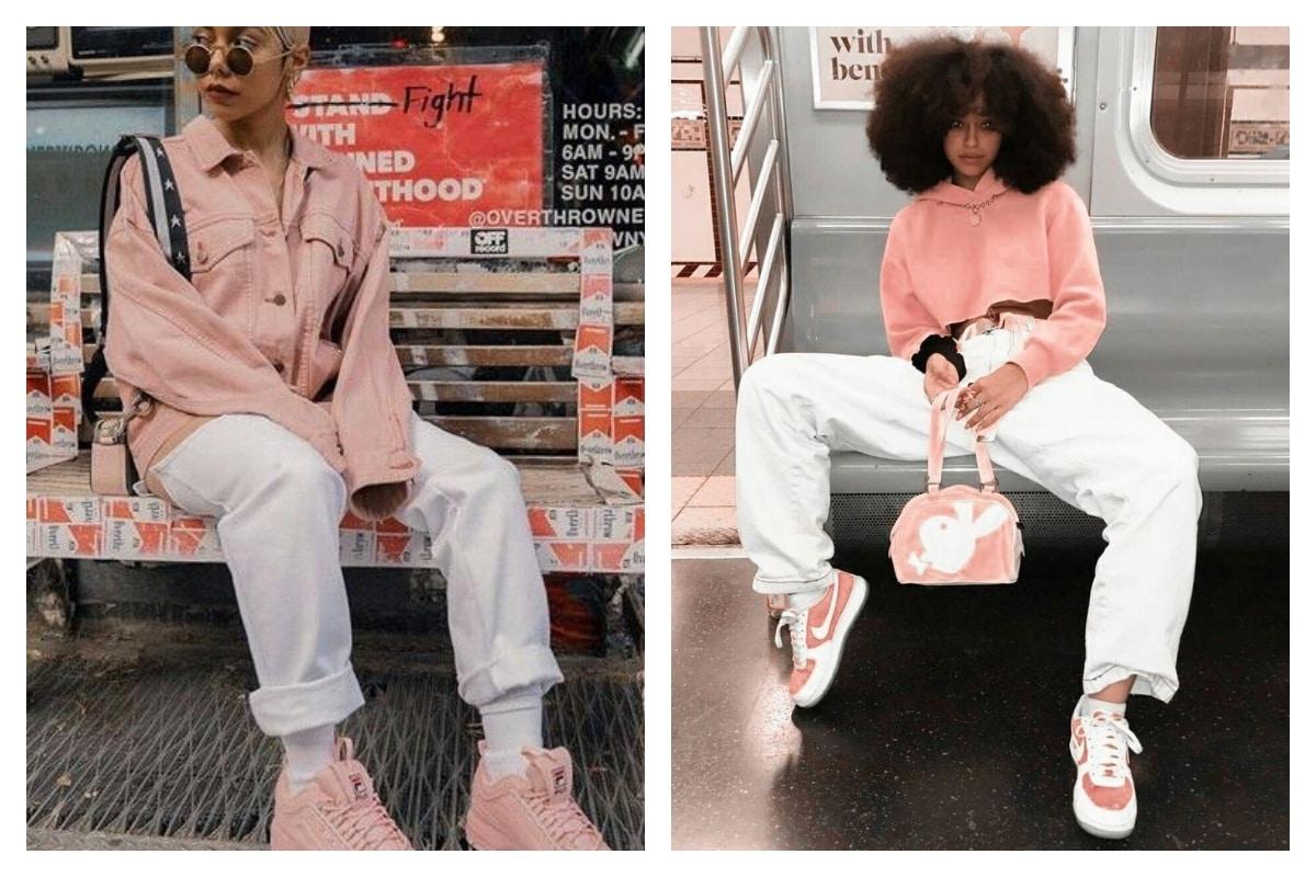 baskets roses femme