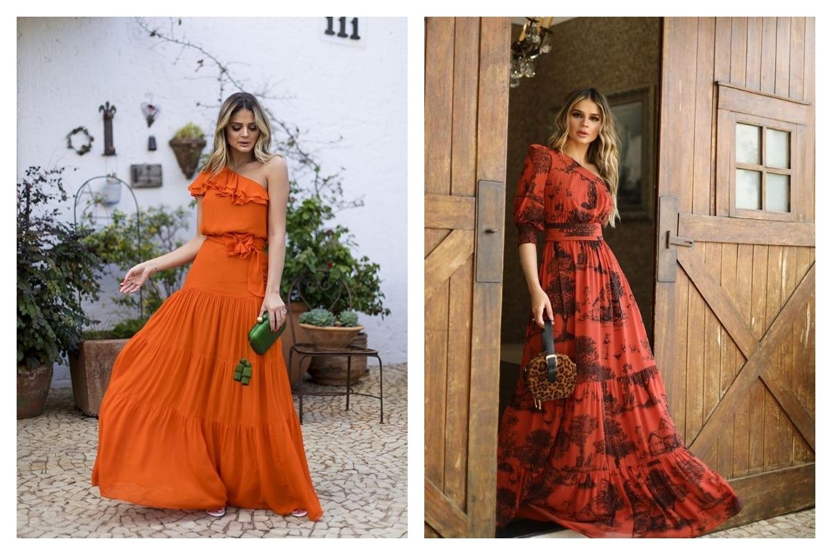 robe orange bohème