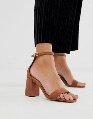 sandales nubuck talon carré