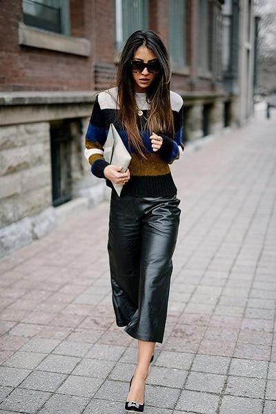 jupe culotte en cuir