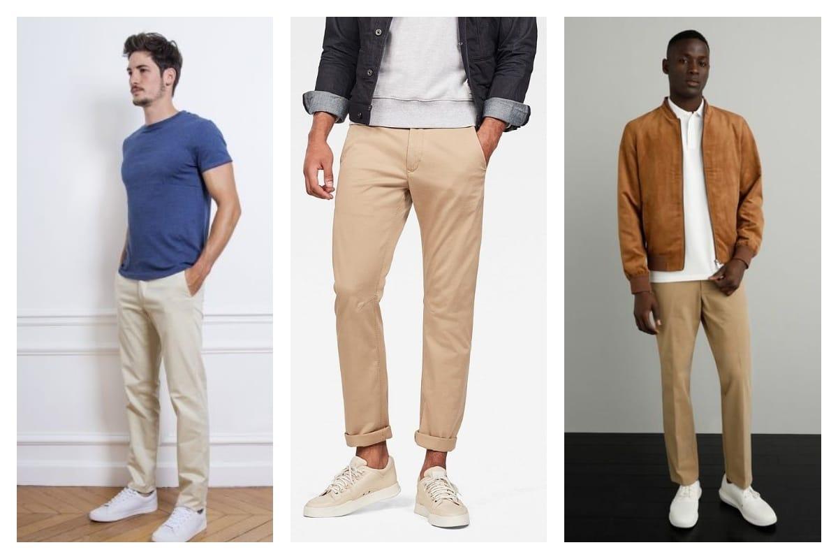 4 idées de look avec un pantalon chino beige homme