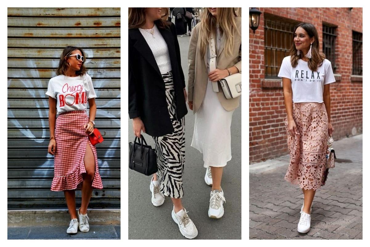 Porter une jupe avec des baskets 6 astuces mode