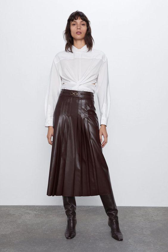 jupe plissée longue simili