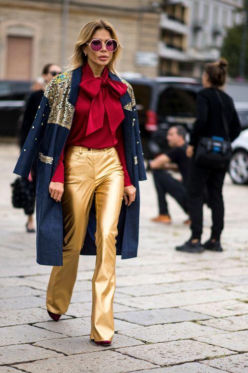 pantalon doré femme