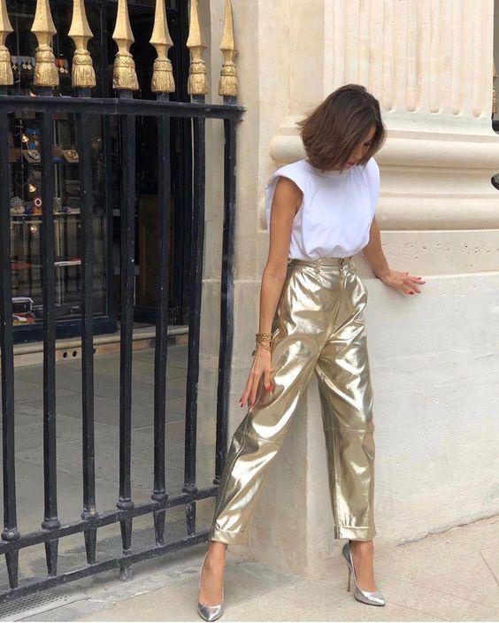 pantalon doré pour femme